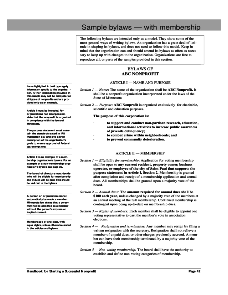 Sample Bylaws With Membership Free Download - Bylaws template for non profit organization