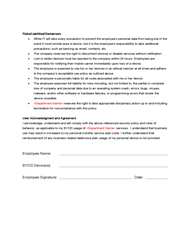 Sample BYOD Policy Free Download