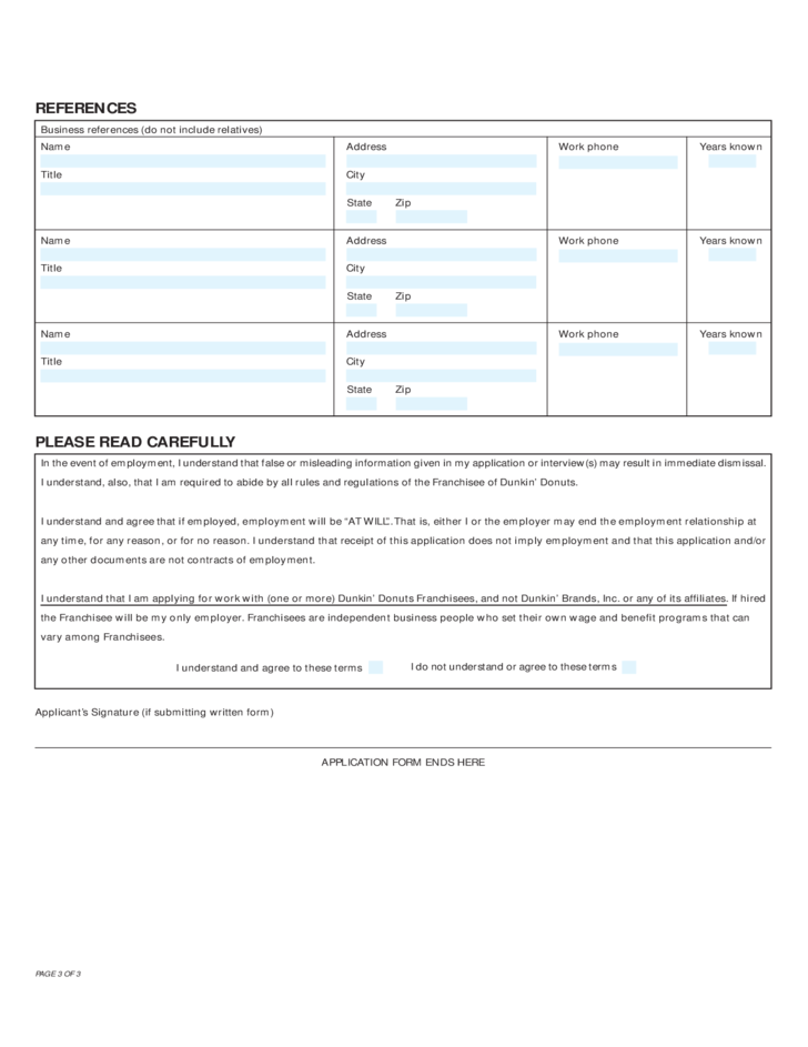 Dunkin Donuts Employment Application Form Free Download