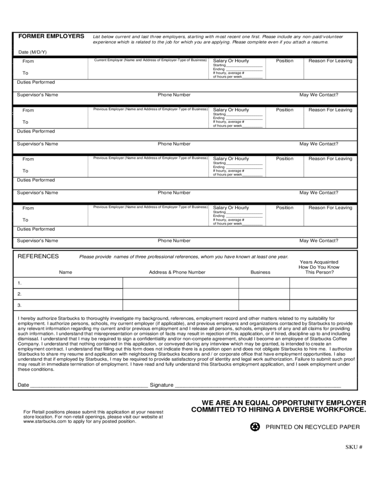 starbucks-application-for-employment-form-l2 Job Application Form Free Printable on