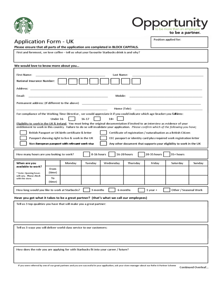 starbucks application form