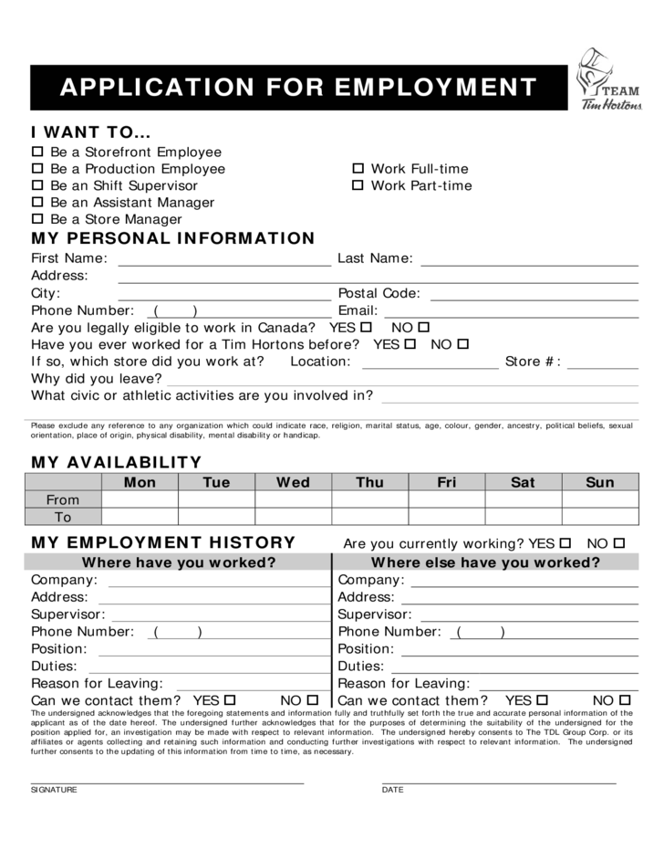 tim-hortons-employment-application-form-l1 Job Application Form For Canada on part time, sonic printable, free generic, big lots, blank generic,