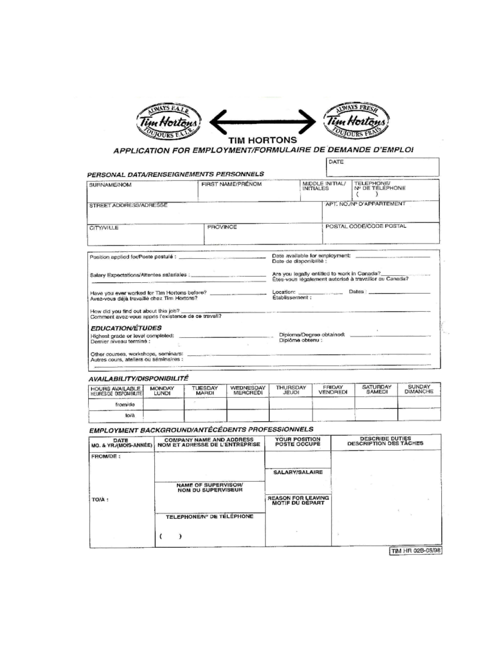 tim hortons job application for employment form free download