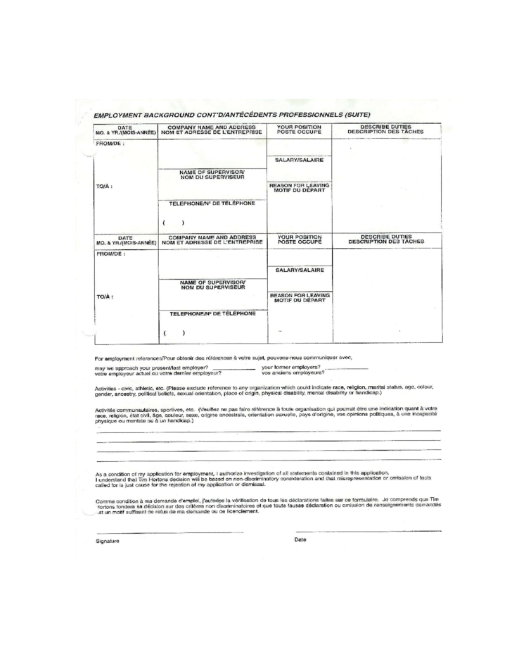 tim hortons application for employment form free