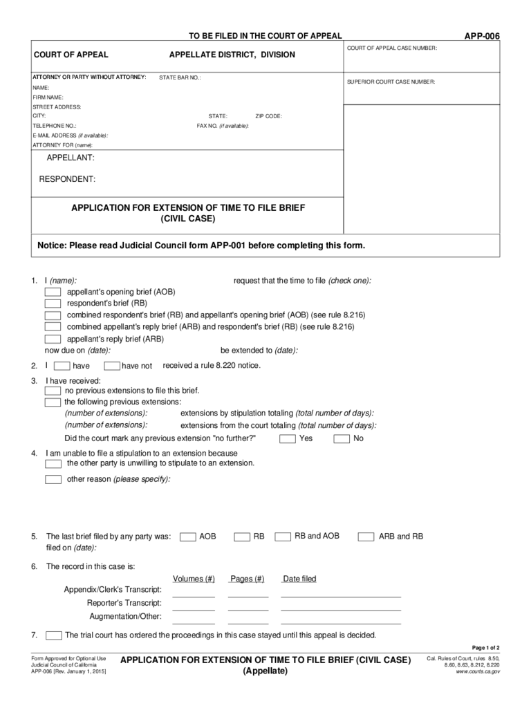 APP-006 Application for Extension of Time to File Brief (Civil Case)