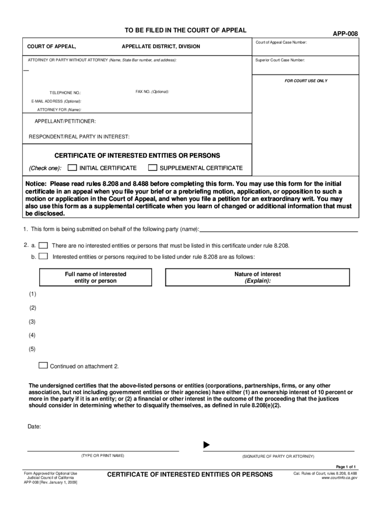 APP-008 Certificate of Interested Entities or Persons