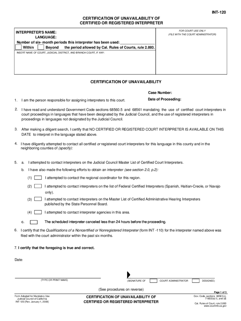 California interpreter form 6 free templates in pdf word excel int 120 certification of unavailability of certified or registered interpreter 1betcityfo Images