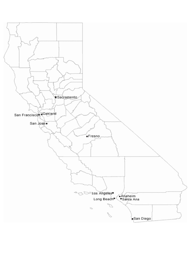 Map of California Cities with City Names