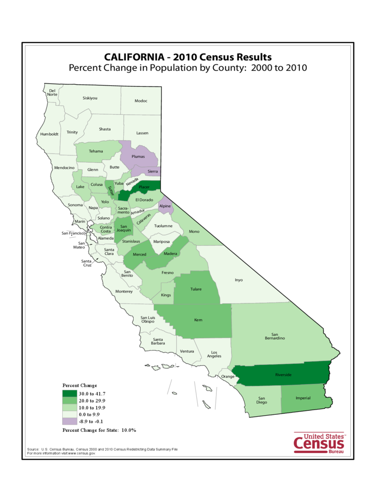 California County Population Change Map