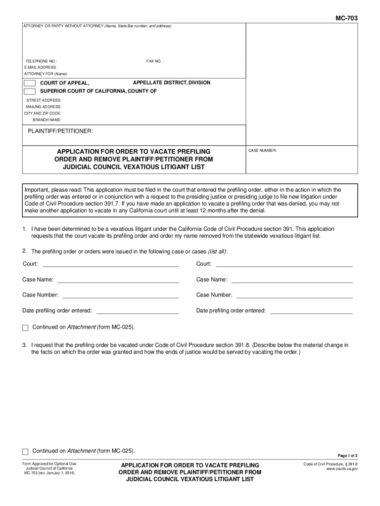 MC-703 Application for Order to Vacate Prefiling