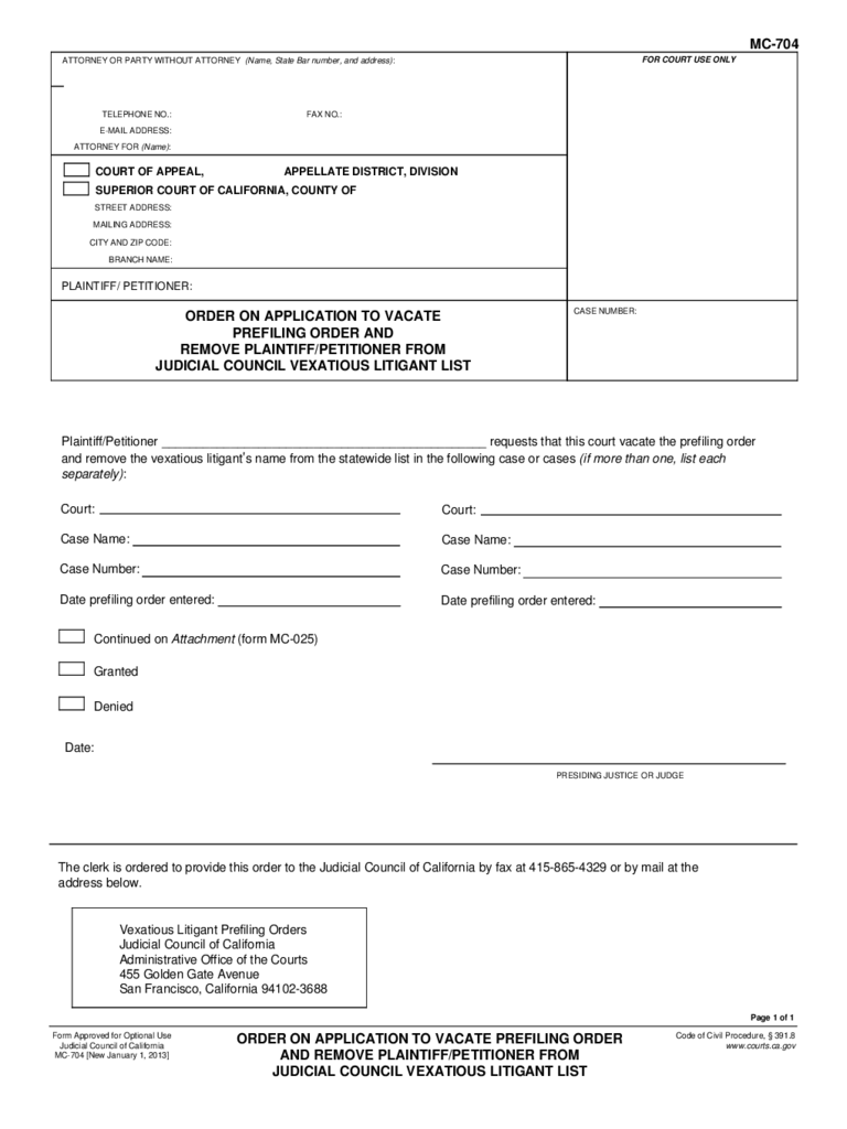 MC-704 Order on Application to Vacate Prefiling Order and Remove Plaintiff