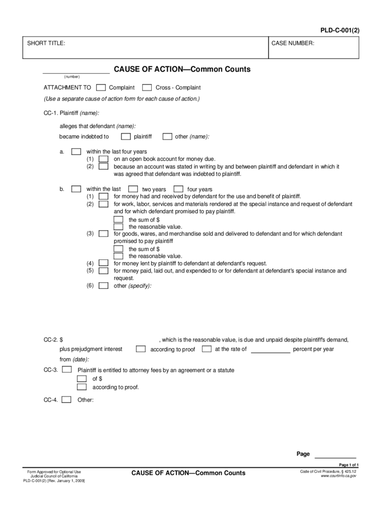 PLD-C-001(2) Cause of Action - Common Counts Free Download