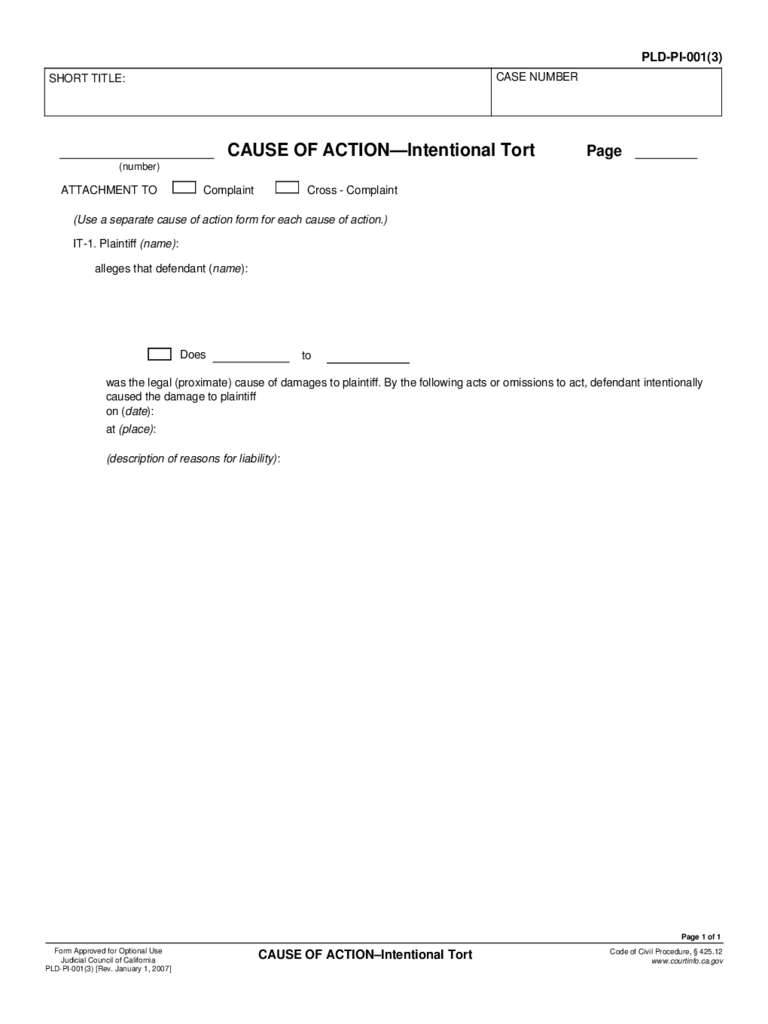 PLD-PI-001(3) Cause of Action - Intentional Tort