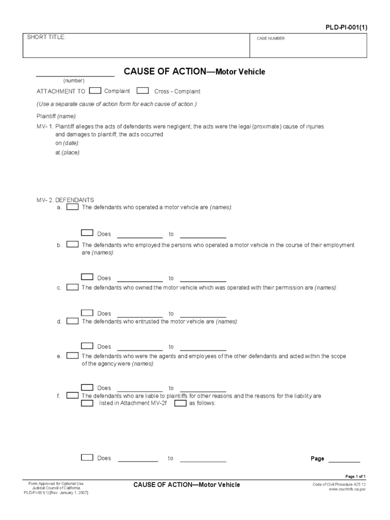 california pleading forms