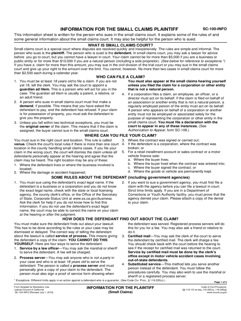 California Small Claims Forms - 41 Free Templates in PDF, Word ...