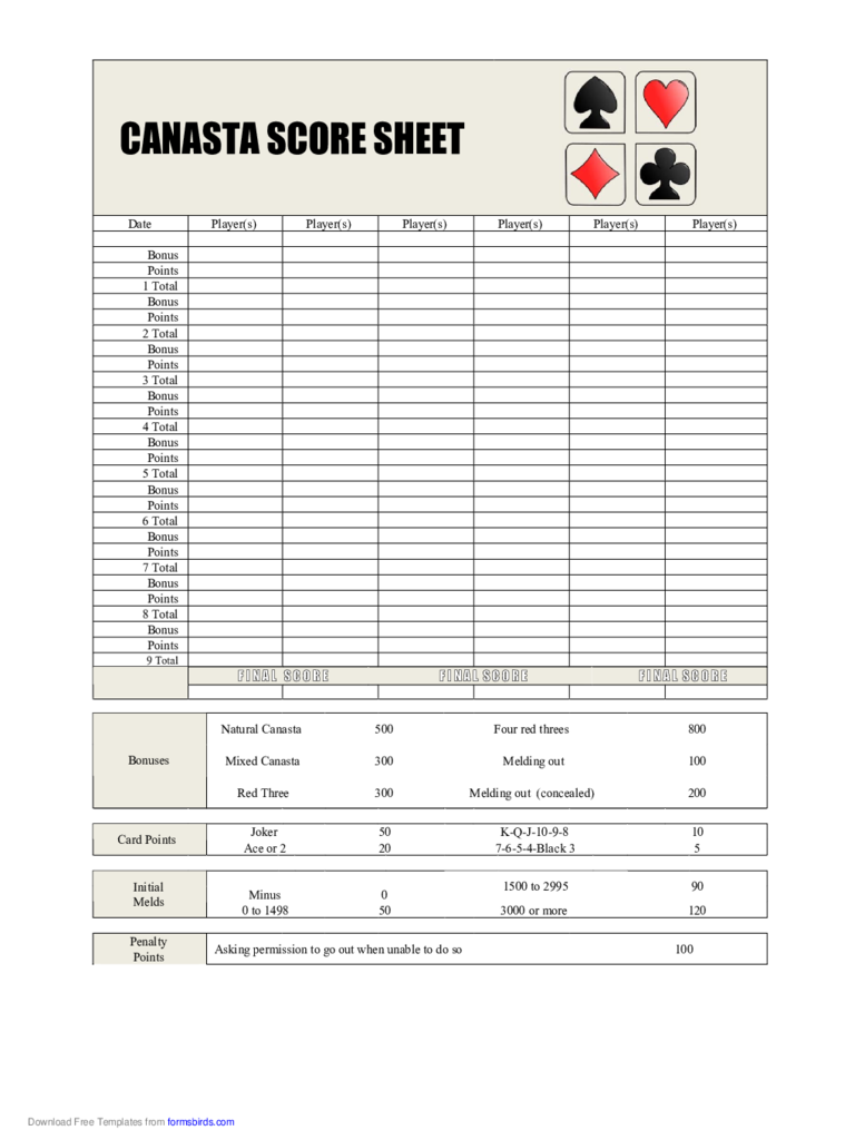 Canasta Score Sheet 5 Free Templates In Pdf Word Excel