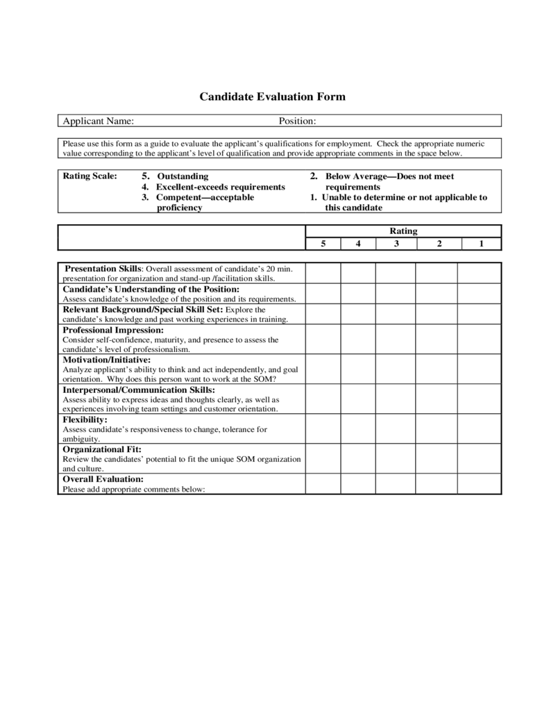 Candidate Evaluation Form 2 Free Templates in PDF Word Excel – Candidate Evaluation Form