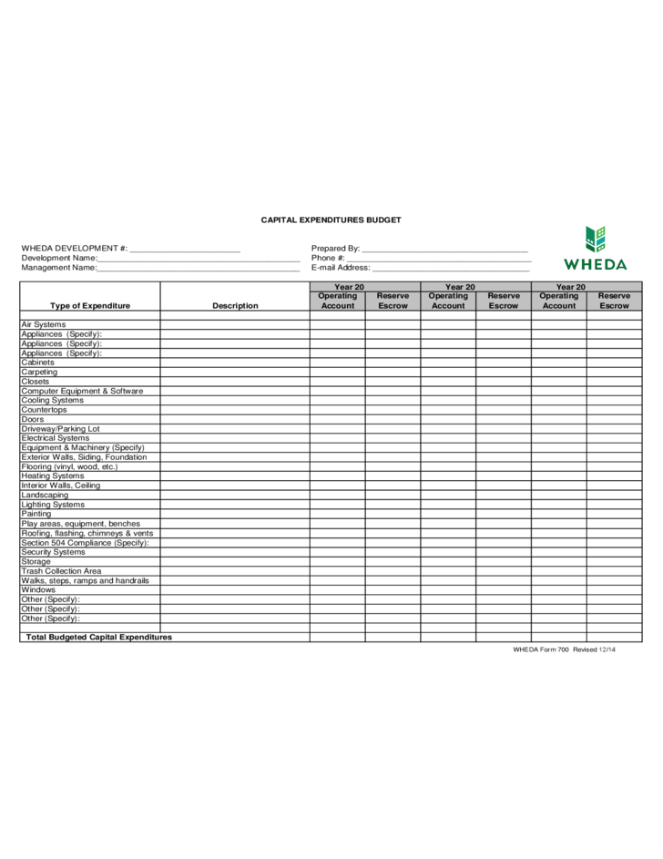 Capital Expenditure Budget Form Free Download