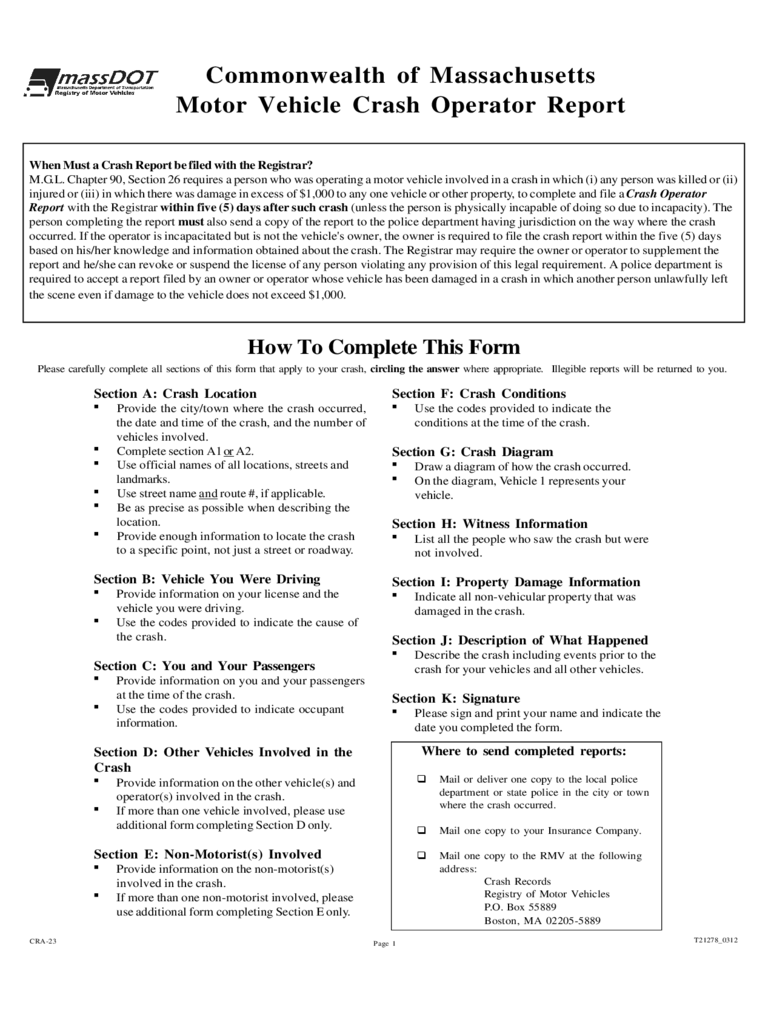 Car Accident Report Form - Massachusetts Free Download