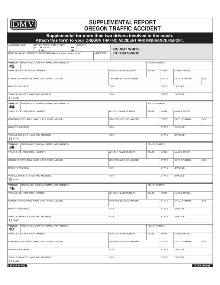 Car Accident Report Form - Oregon Free Download