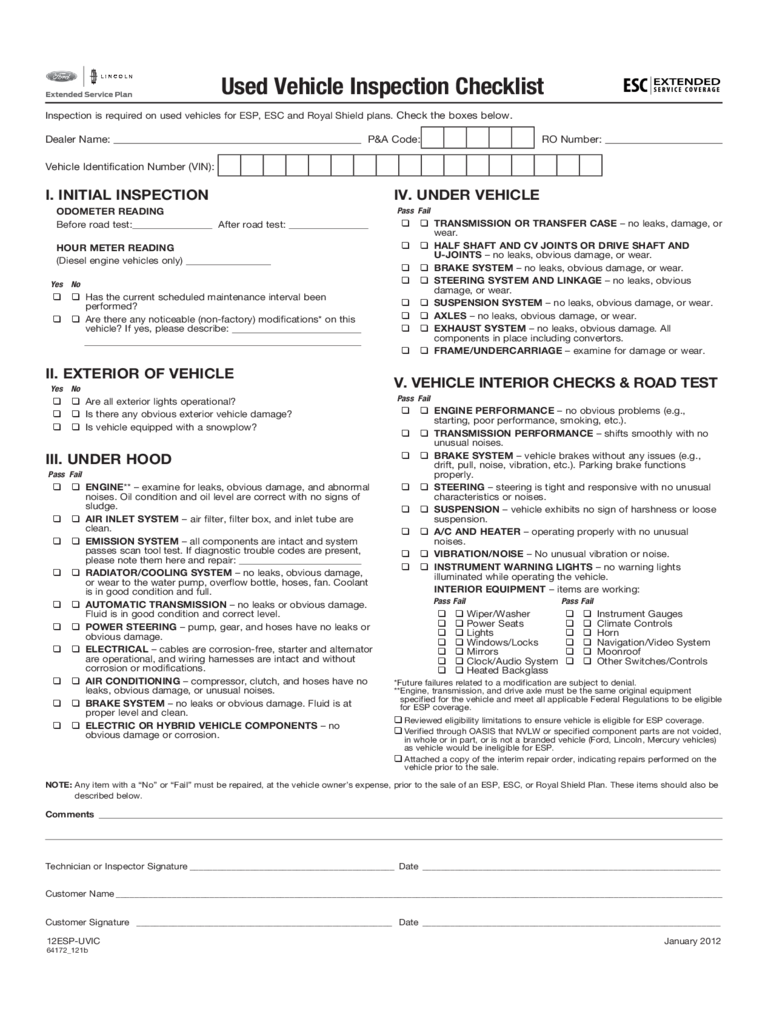 Used Car Inspection Checklist Printable