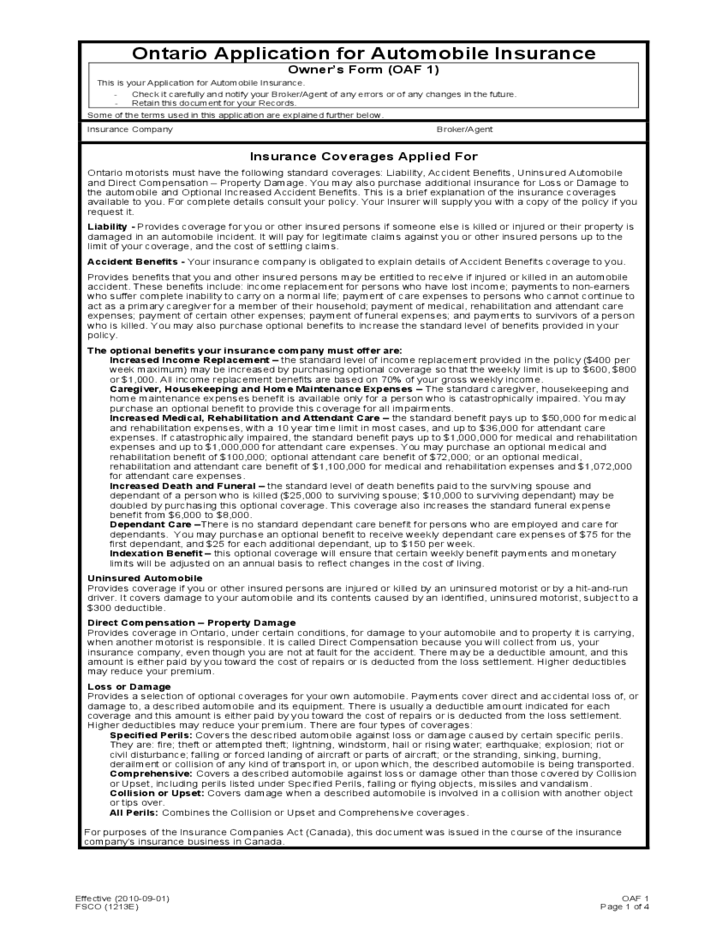 Car Insurance Application Form  Ontario Free Download