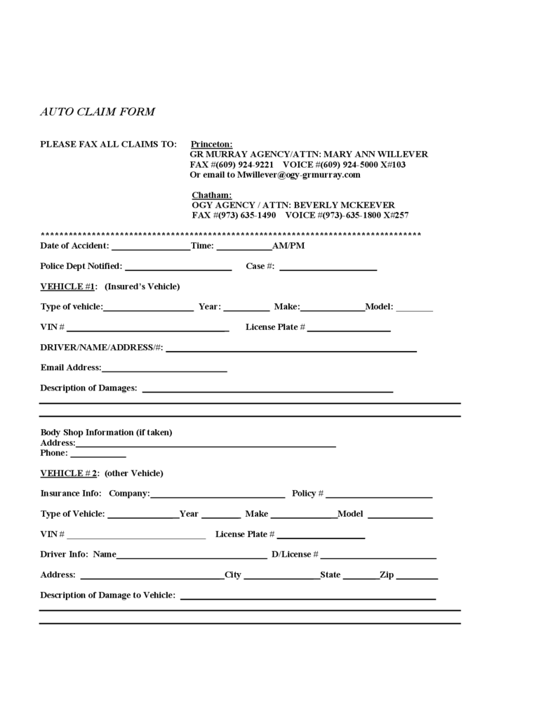 word insurance template  Car Insurance Claim Form - 2 Free Templates in PDF, Word, Excel Download