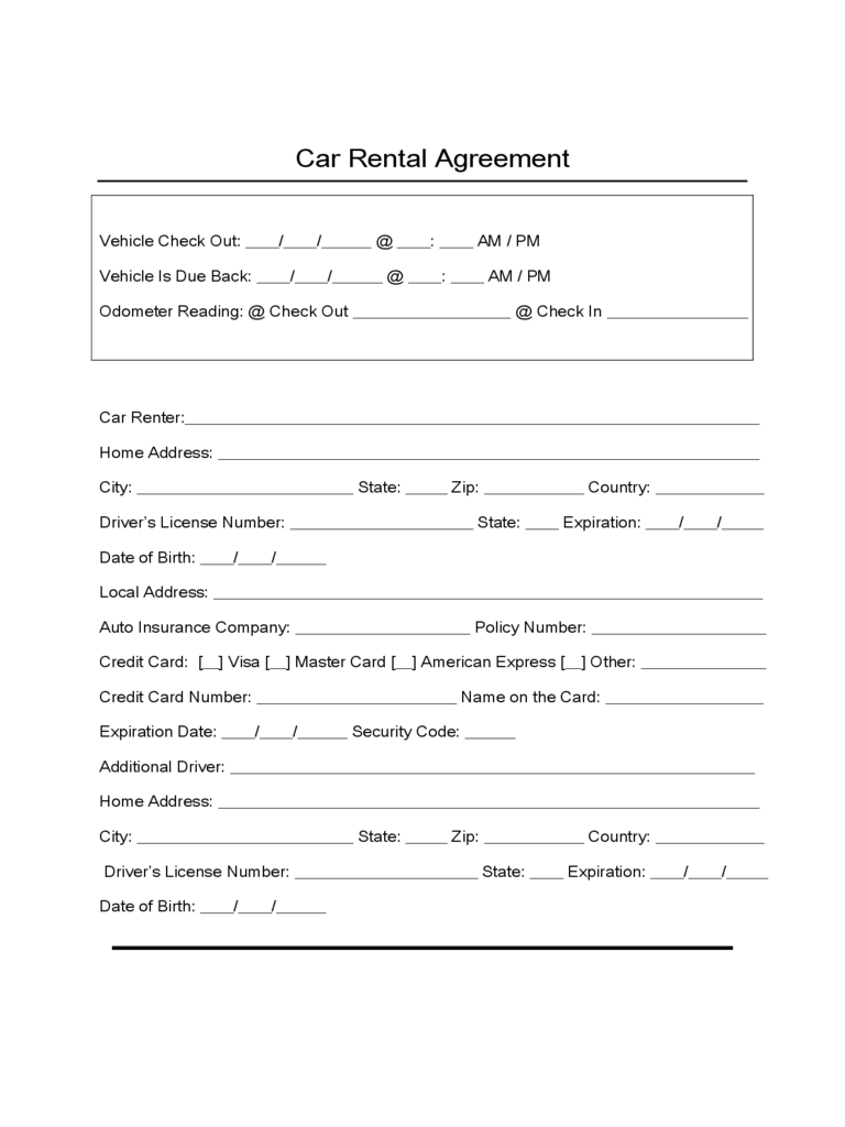 Sample Form for Car Rental and Lease