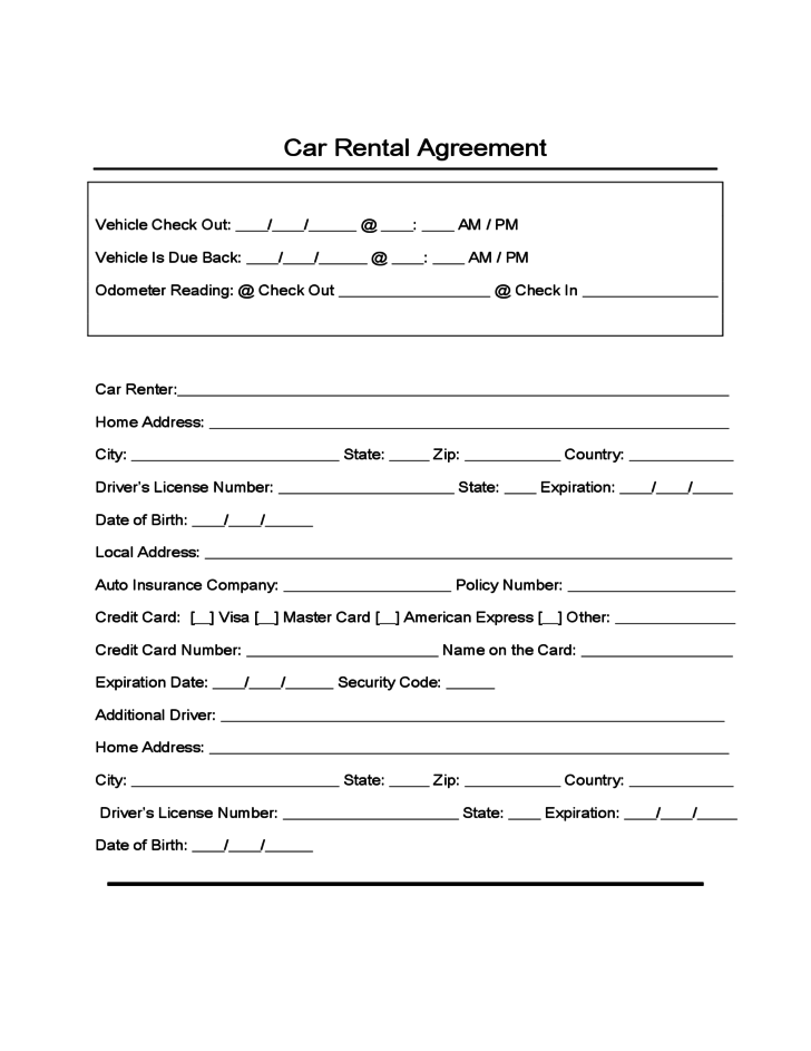 Sample form for car rental and lease free download for Turnkey contract template