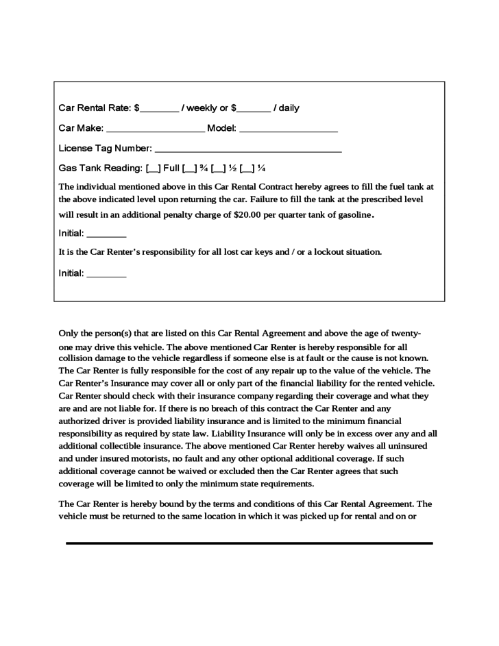 Sample Form for Car Rental and Lease Free Download – Auto Rental and Lease Form