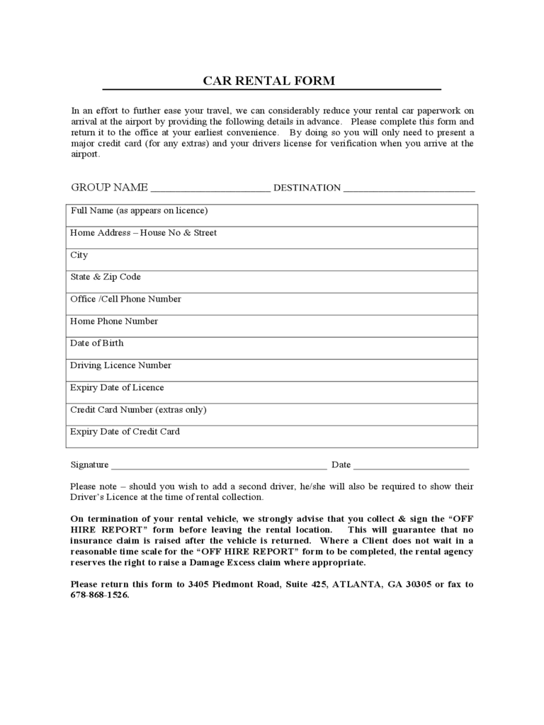 Car Rental and Lease Sample Form