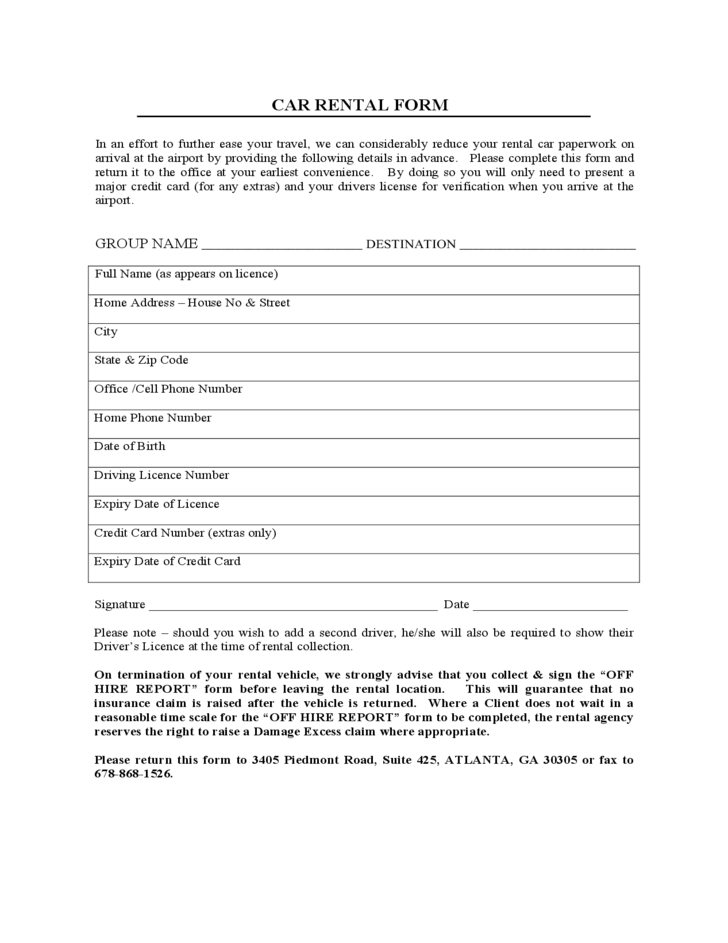 Car Rental And Lease Sample Form Free Download
