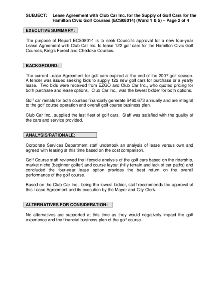 Club Car Lease Agreement Ontario Free Download