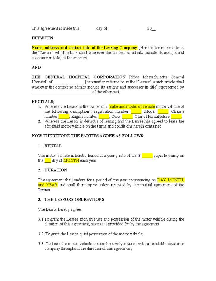 Vehicle Lease Agreement Template Free Download
