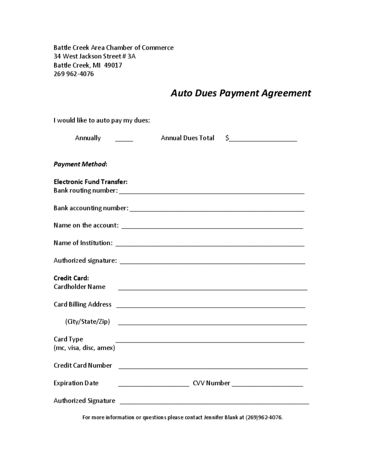 auto dues payment agreement free download