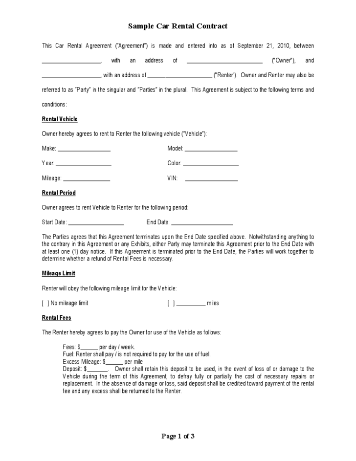Sample car rental contract free download for Employee vehicle use agreement template