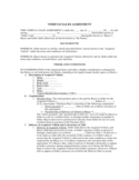 Vehicle Sales Agreement Free Download