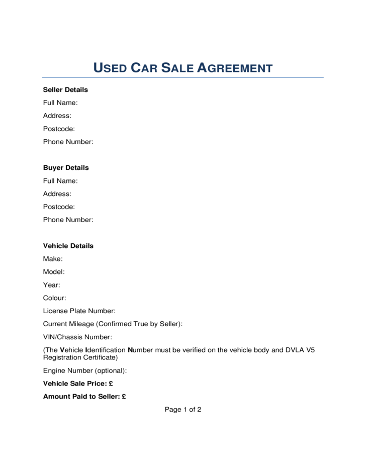 1 Car Sale Contract Form   London