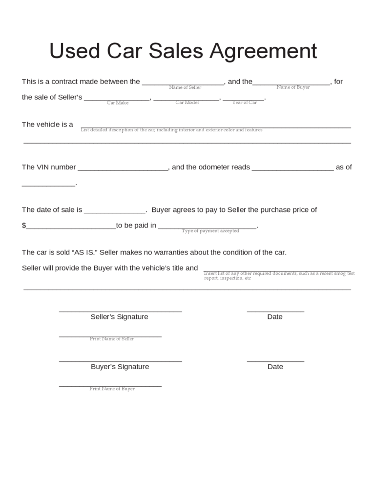 used car sales contract template – Car Sale Agreement Sample