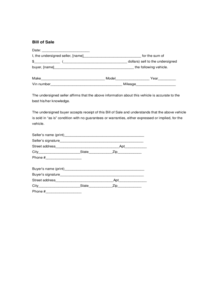 Car Sale Form Massachusetts Free Download