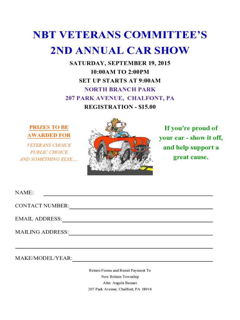 Car Show Registration Form - 2 Free Templates in PDF, Word, Excel ...