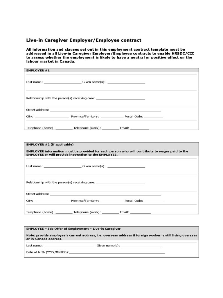 Caregiver Contract Template 2 Free Templates In Pdf