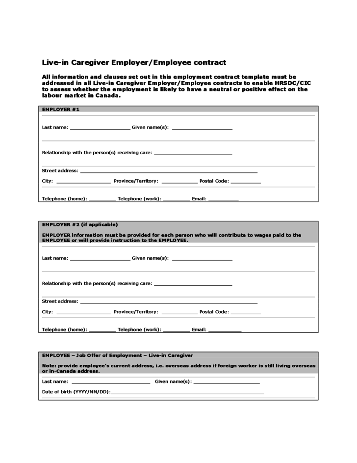 Live-in Caregiver Employer/Employee Contract - Canada Free Download
