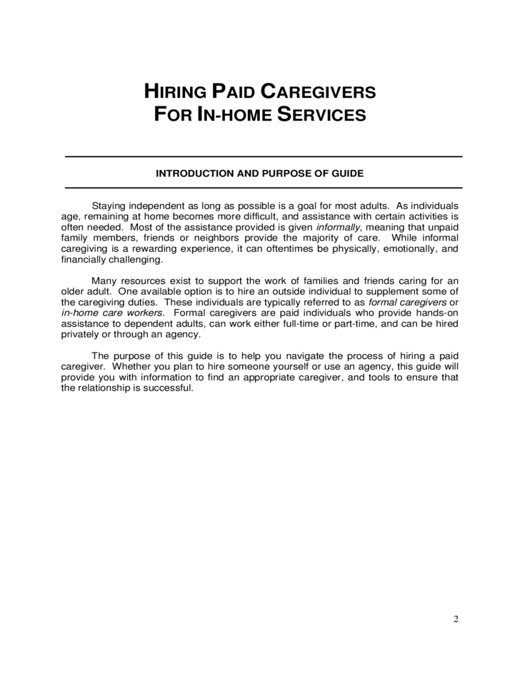 Hiring formal caregivers for in home services michigan free download for Live in caregiver contract form