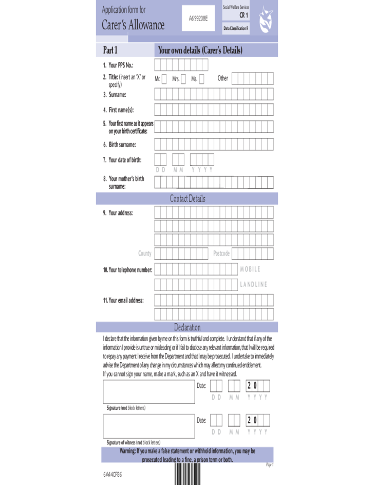 carers allowance form sample free download
