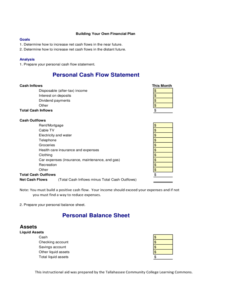 personal cash flow statement free download