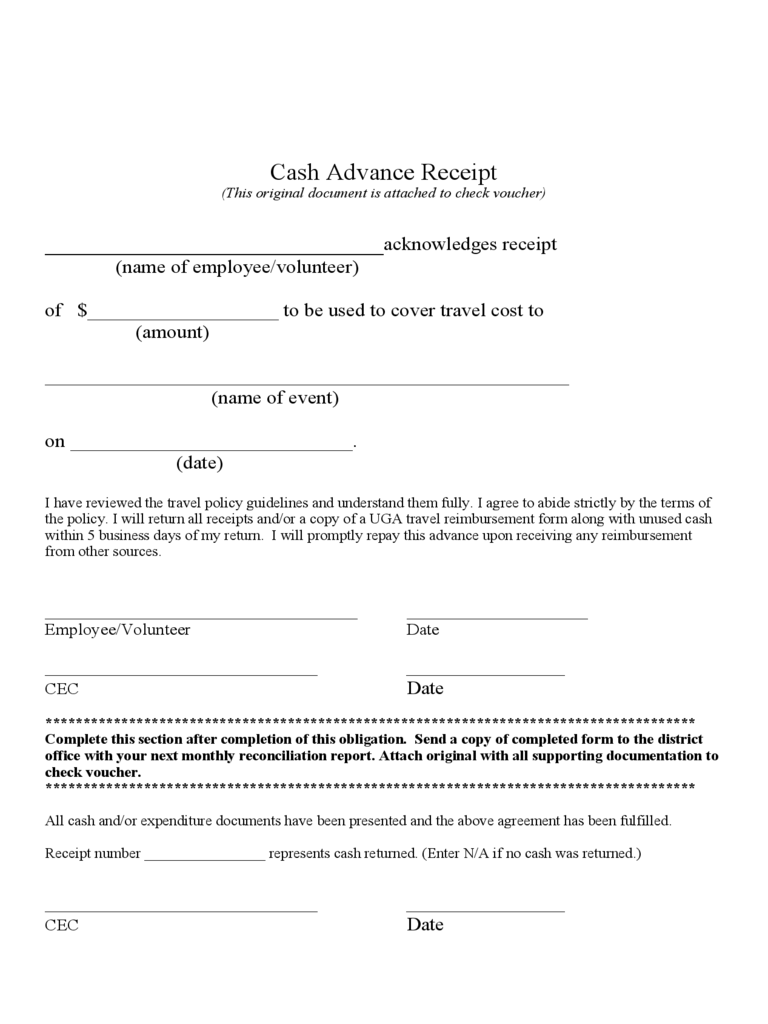 receipt template templates in pdf word excel cash advance receipt