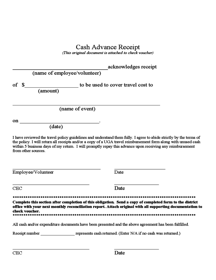 cash advance policy template cash advance receipt free download