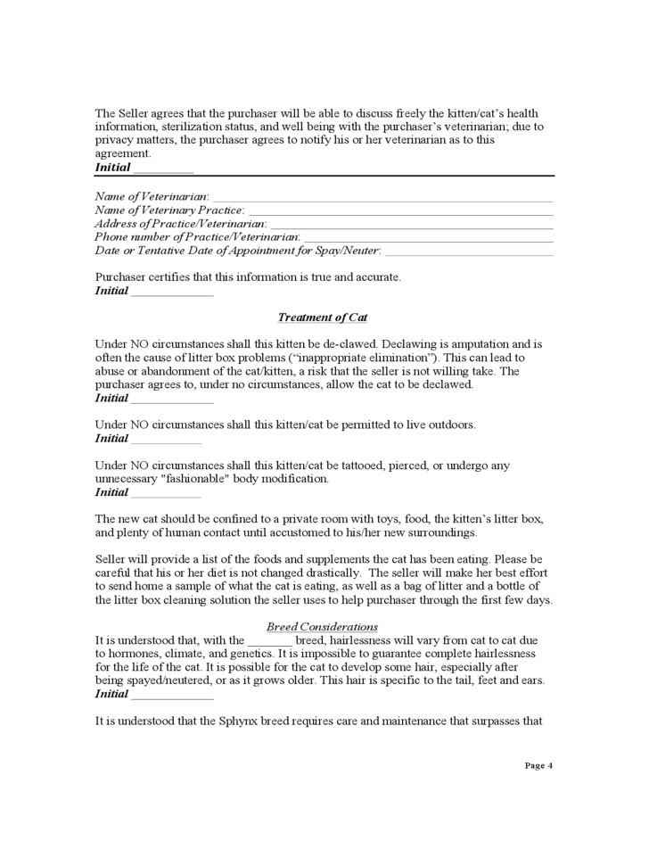 Contract For Purchase Of A Kitten Or Cat Free Download