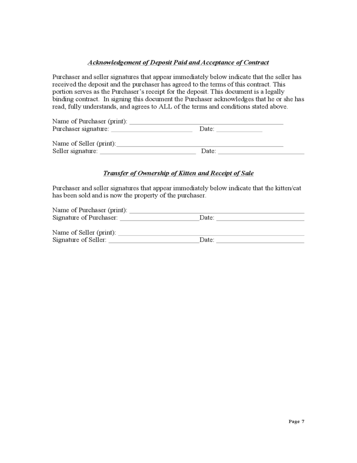 Contract for Purchase of a Kitten or Cat